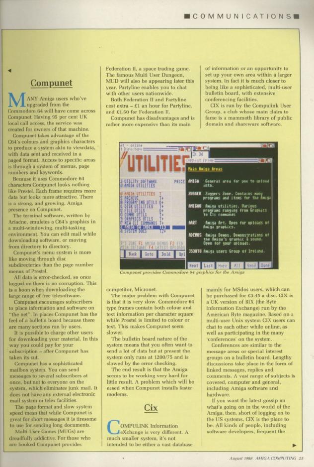 Amiga Computing Volume 1, Number 3, August 1988 p25