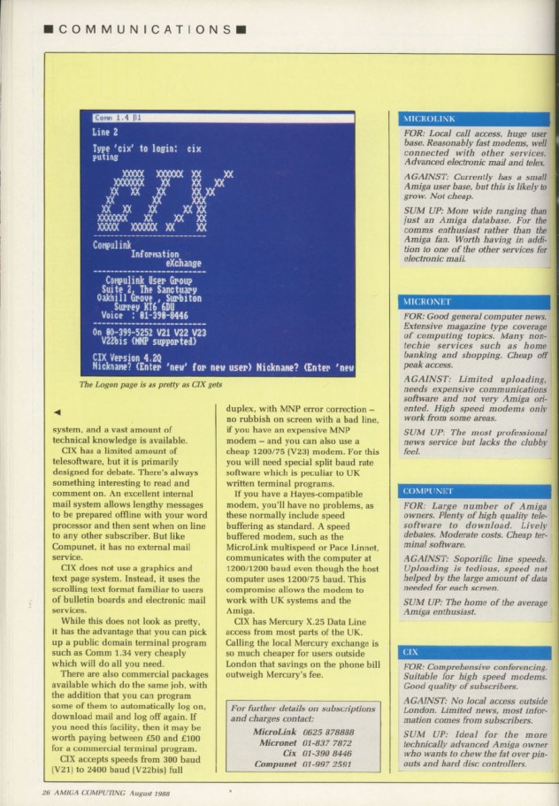 Amiga Computing Volume 1, Number 3, August 1988 p26