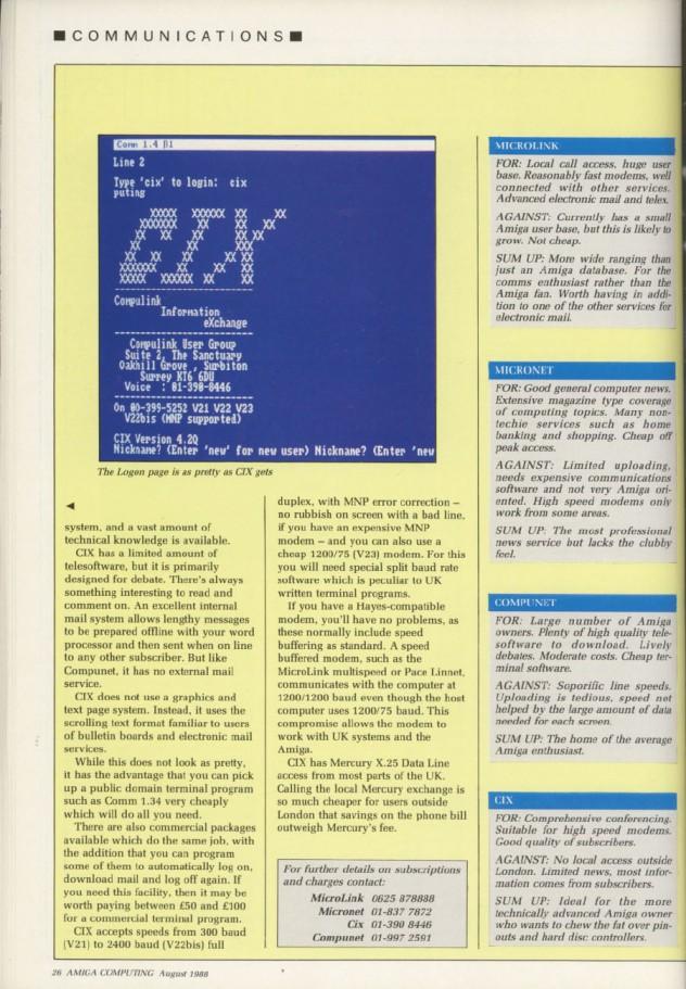 Amiga Computing Volume 1, Number 3, August 1988 p26