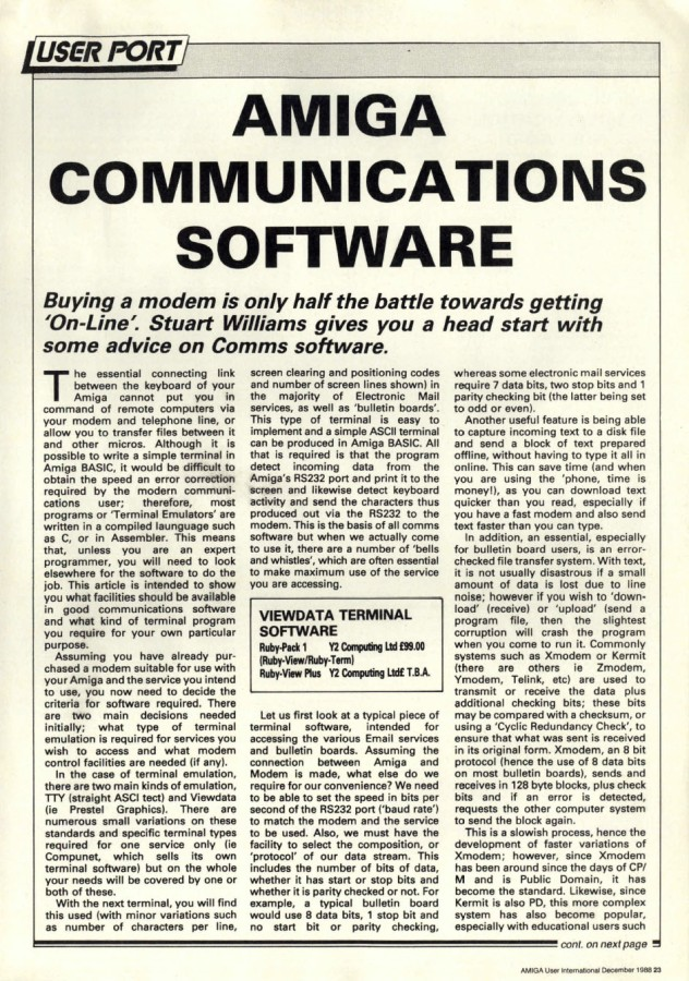 Amiga User International Volume 2, Number 12, December 1988 p23
