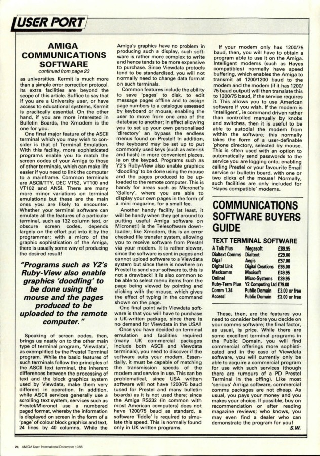 Amiga User International Volume 2, Number 12, December 1988 p24