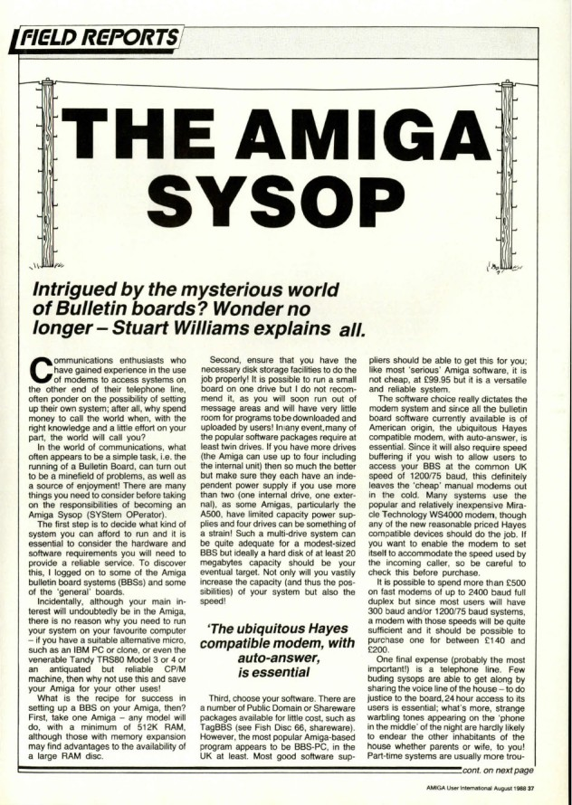 Amiga User International Volume 2, Number 8, August 1988 p37