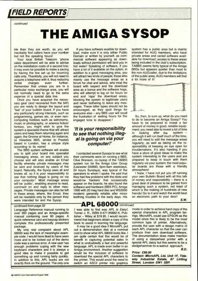 Amiga User International Volume 2, Number 8, August 1988 p38