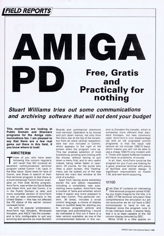 Amiga User International Volume 3, Number 3, March 1989 p89