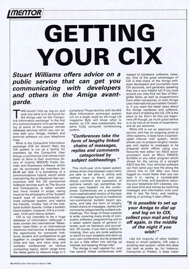 Amiga User International Volume 3, Number 3, March 1989 p92