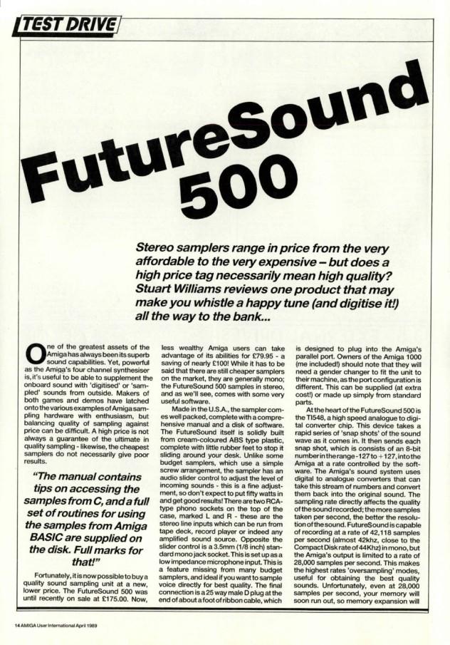 Amiga User International Volume 3 Issue 4 April 1989 p14