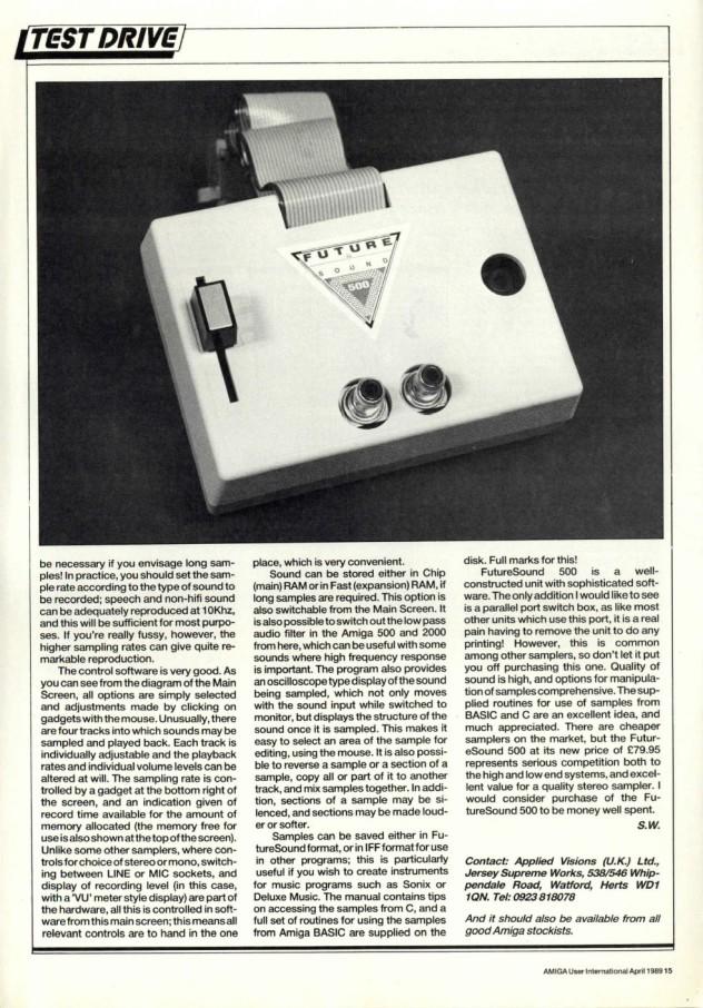 Amiga User International Volume 3 Issue 4 April 1989 p15