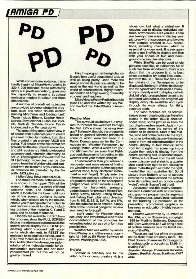 Amiga User International Volume 3 Number 4 April 1989 p72