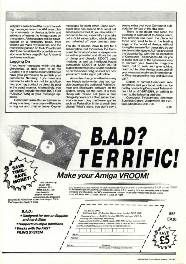 Amiga User International Volume 3, Number 8, August 1989 p23
