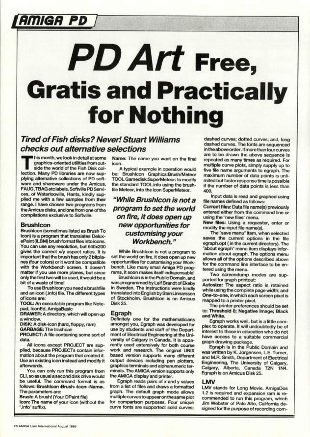 Amiga User International Volume 3, Number 8, August 1989 p70