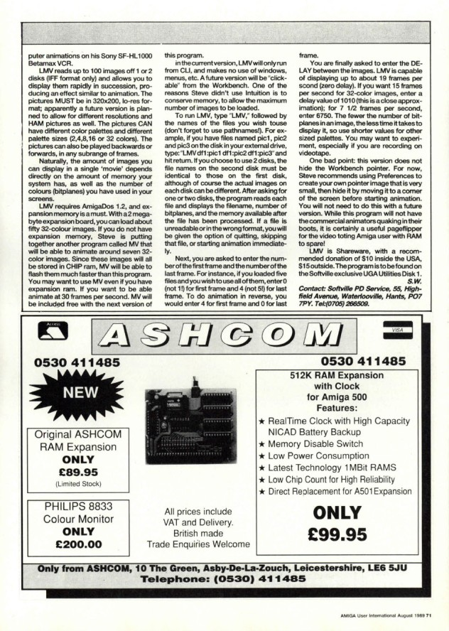 Amiga User International Volume 3, Number 8, August 1989 p71