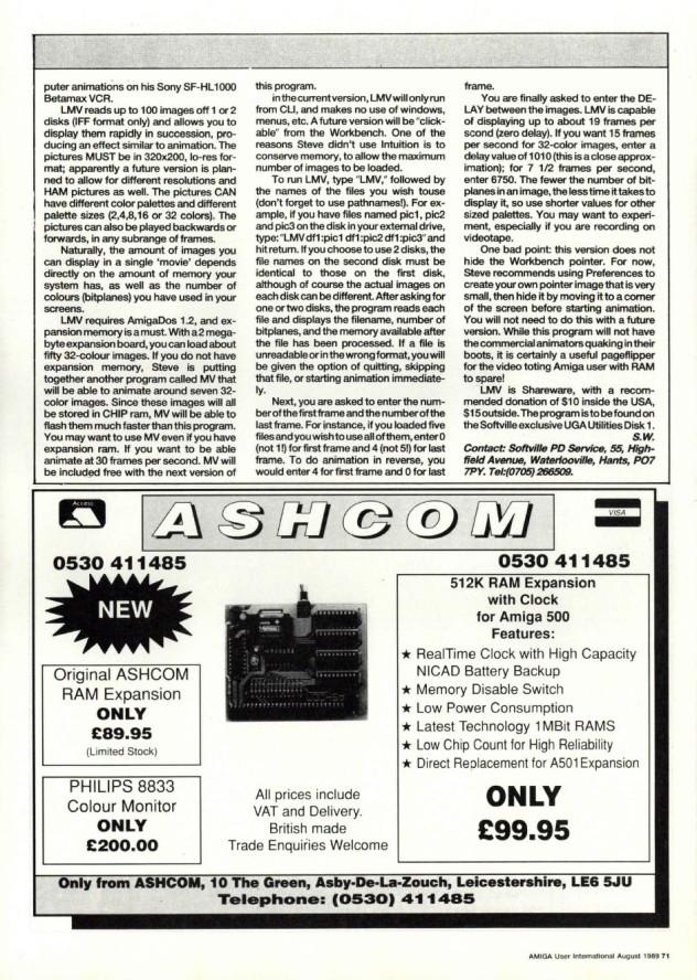Amiga User International Volume 3, Number 8, August 1989 p71