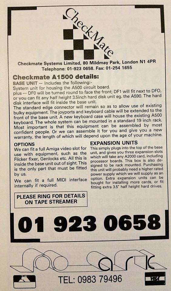 Advert for the Checkmate A1500 in AUI March 1990