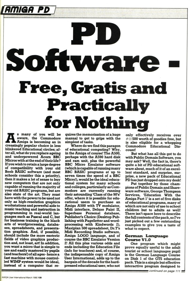 Amiga User International March 1990 Volume 4, Number 3, p109