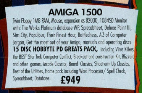 Hobbyte ad for the A1500, August 1990
